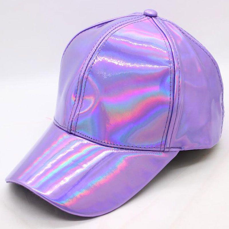 c808b062ec8 Rainbow PU Leather Baseball Cap Adjustbale Snapback Hats For Men Women  Purple Gold Silver 6 Panels Hip Hop Caps Dance Party Wear Baby Caps 47  Brand Hats ...