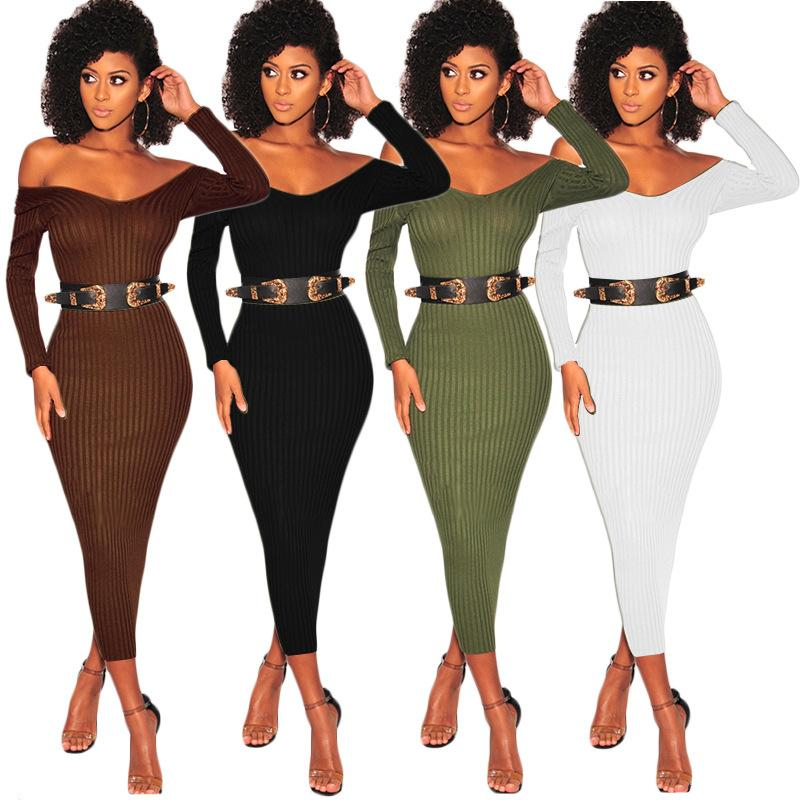 99d95d0b720d0 2019 Lycra Maxi Bodycon Dresses 2018 Women Sexy High Stretchy Solid Deep V  Neck Long Sleeve Casual Slim Off Shoulder Party Prom Dress From Hengytrade,  ...