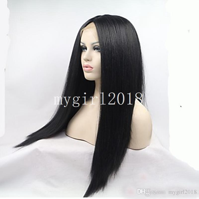 African Yaki Synthetic Lace Front Wigs Cheap Natural Black Yaki Kinky Straight Full Lace Wigs&Cosplay Wigs For Black&American Women