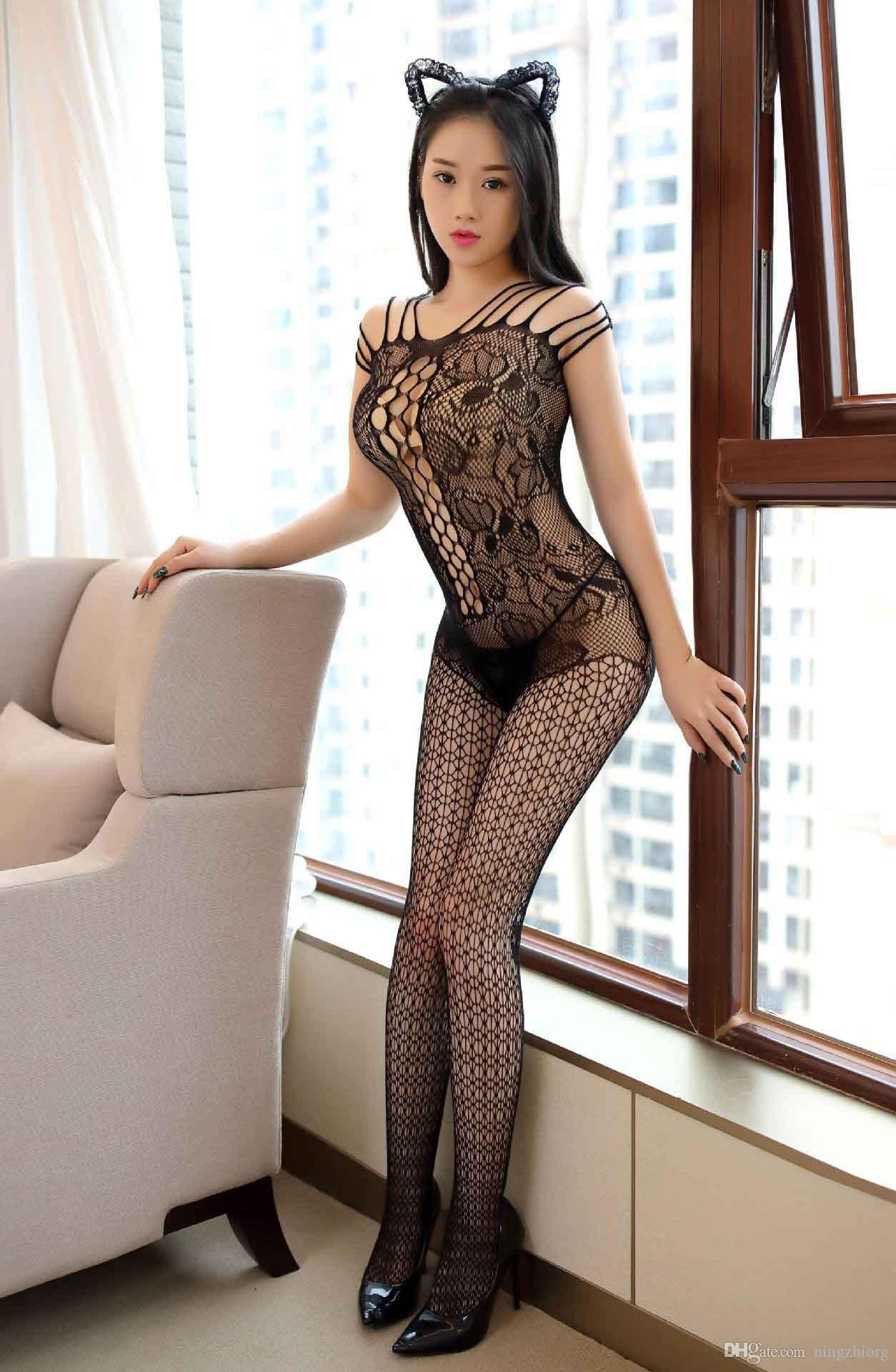 Sous-vêtements érotiques européens et américains sexy chaussettes en filet noir creux rosée poitrine ouverte entrejambe tentation féminine transparente bas siamois se