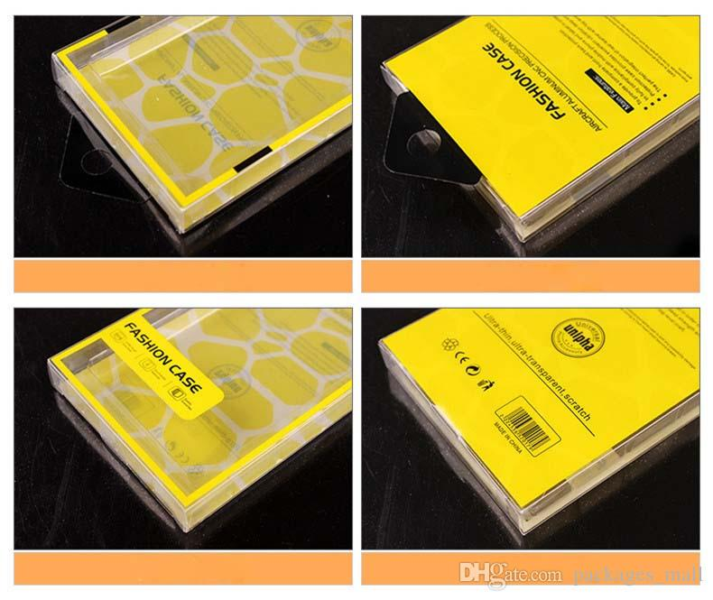 Universal Plastic Crystal PVC Retail Package Packaging Cajas de cajas vacías para iPhone 8 7 6 6S Plus Samsung Galaxy S8 S7 S6 Note 4 Funda