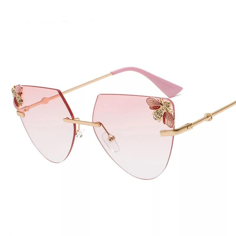 23f06f13bfc6 Cat Eye Sunglasses for women Pink Woman's Fashion rimless Sun Glasses with  Crystal stones and Bees Brown Red Party Eyewear Sale