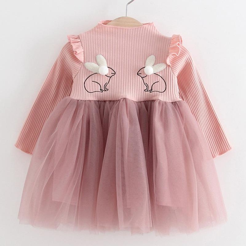 f1fa3805e3ca 2019 Autumn Newborn Clothing Cute Rabbit Girl Dress Long Sleeve Mesh Solid  Princess Dress Baby Girls Clothes Girls Dresses For 0 24M From Entent, ...