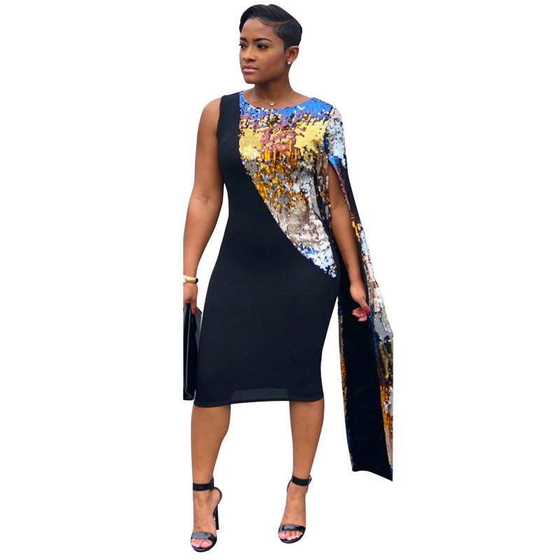 ff97019329f 2019 Elegant Sparkly Sequin Bodycon Dress Women Autumn Cut Out One Shoulder  Slit Long Sleeve Sexy Plus Size Club Party Dresses Black From Beenni