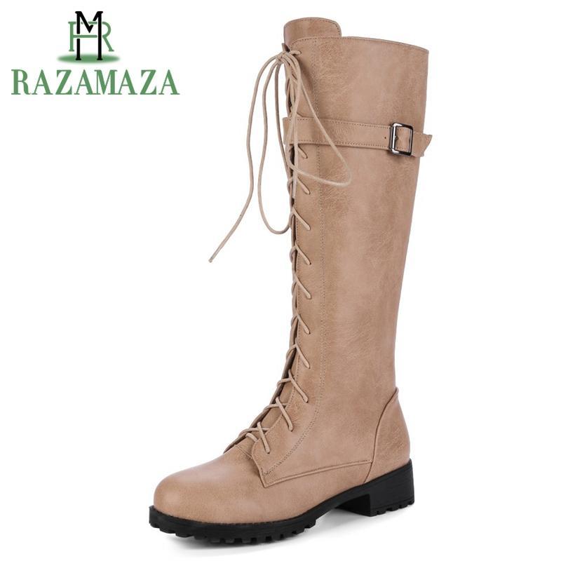 5bcade572 Compre RAZAMAZA Botas De Mujer Botas De Invierno Cálido Zapatos De Piel Botas  De Rodilla De Mujer Gladiador Cruz Correa De Moda De Largo Tamaño 33 42 A  ...