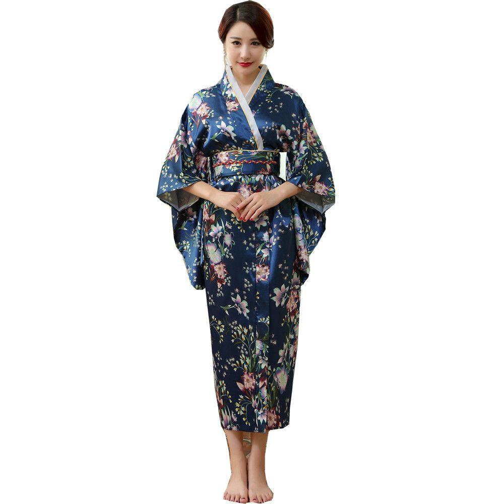 00437243269ae Japanische traditionelle Frauen Seide Rayon Kimono Vintage Yukata mit Obi  Leistung Tanzkleid Halloween Kostüm One Size HL02