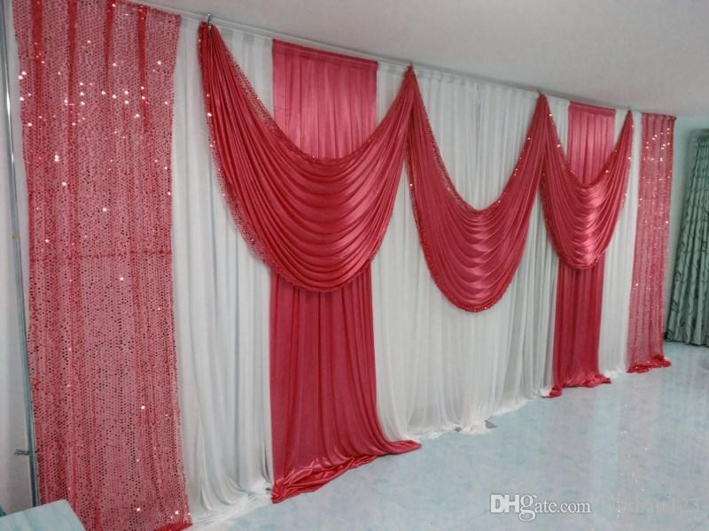 3m*6m wedding backdrop with sequins swags backcloth for Party Curtain Celebration Stage curtain Performance Background wall valance