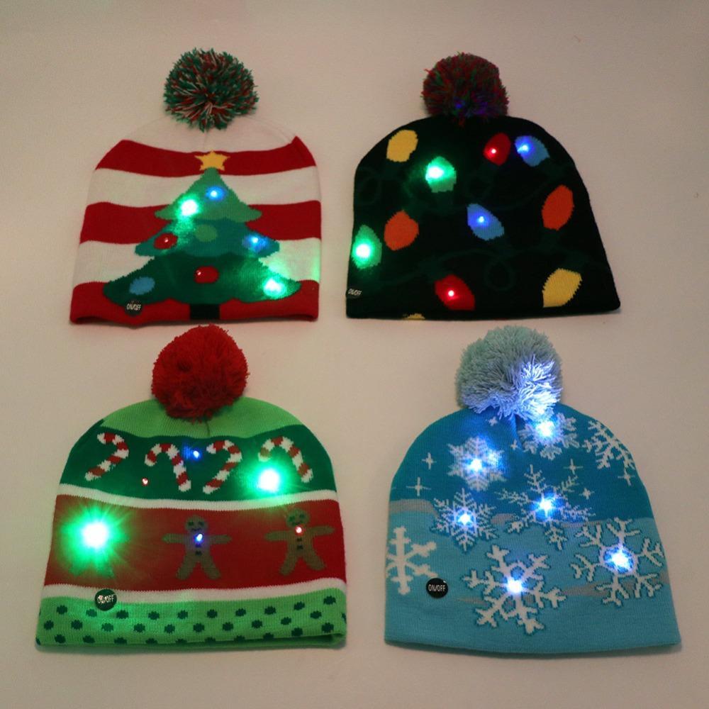 ecd6b5cfc7cc6 Wholesale Led Christmas Cap Knit Christmas Hats Kids 2018 For The New Year  Decorative Party Hats Child Adult 4 Style Dinosaur Birthday Hat Dinosaur  Birthday ...