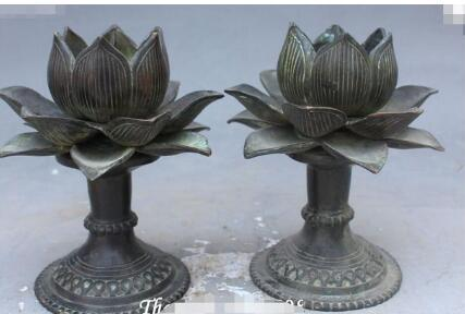 2019 Old Chinese Antique Bronze Lotus Flower Candlestick Candle