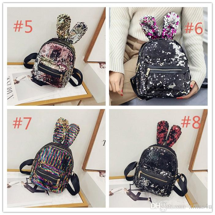 b0a964d8f1f9 2018Mermaid Sequin Backpack Cute Rabbit Bunny Ears Sequin Backpack ...