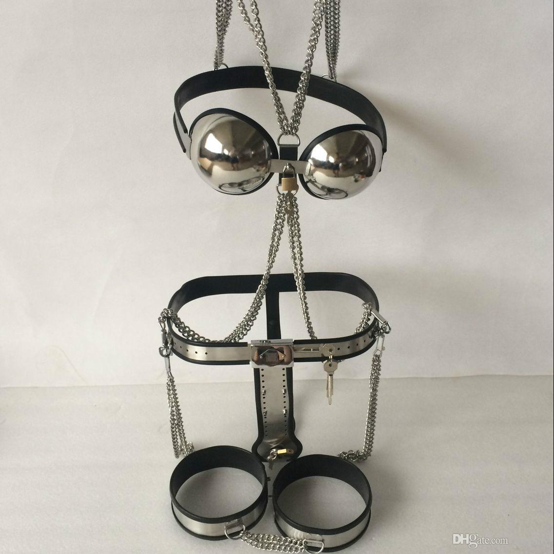 Cinturón de castidad de acero inoxidable de tipo T ajustable, macho, negro Muslo Puño y sujetador 1 juego Envío gratuito