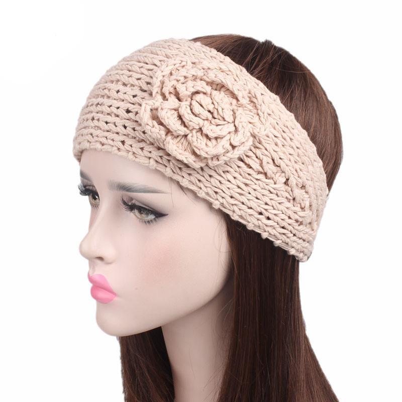 купить оптом зимний теплый цветок Hairband вязание крючком вязаные