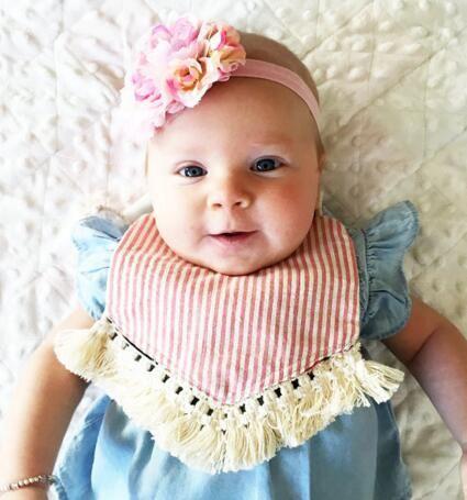 6 estilos INS cuadros impresión floral baberos 100% algodón borla paños eructo recién nacido pañuelo alimentación saliva towle niños baberos