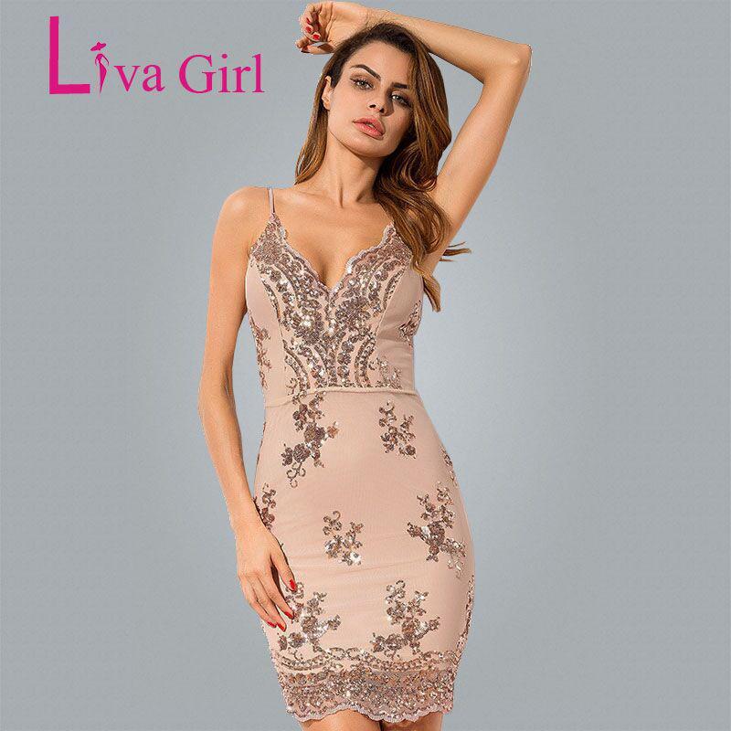 2019 Liva Girl 2018 Black Gold Sexy Party Summer Mini Dress Women Sexy V  Neck Bodycon Dresses Sequin Pencil Dress Vestidos De Festa Y1891104 From  Zhengrui01 ... dea7d574bf1c
