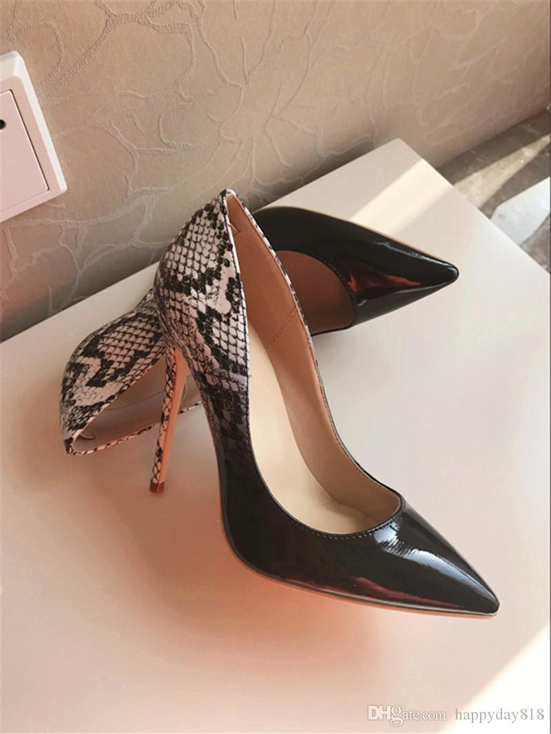 ce07ec8f95f Free shipping fashion women pumps Black white Gradient Color patent snake  real leather point toe high heels shoes brand new 120mm 100mm