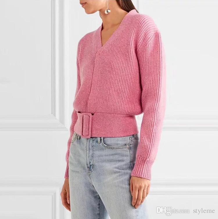the best attitude 70e51 c8209 Designer donna Maglioni di lana rosa 2018 Autunno Inverno Scollo a V  Maglieria lavorata a telaio senza maniche Pullover a maniche lunghe
