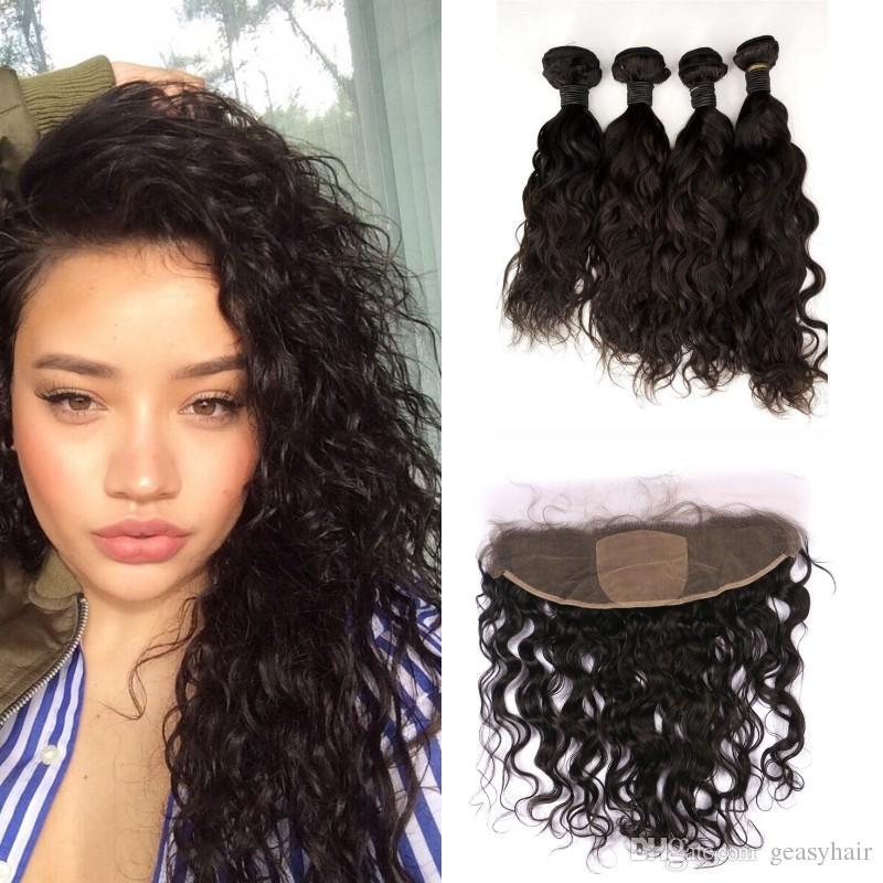 Virgin Indian Water Wave Human Hair Bundles With Silk Base Frontal