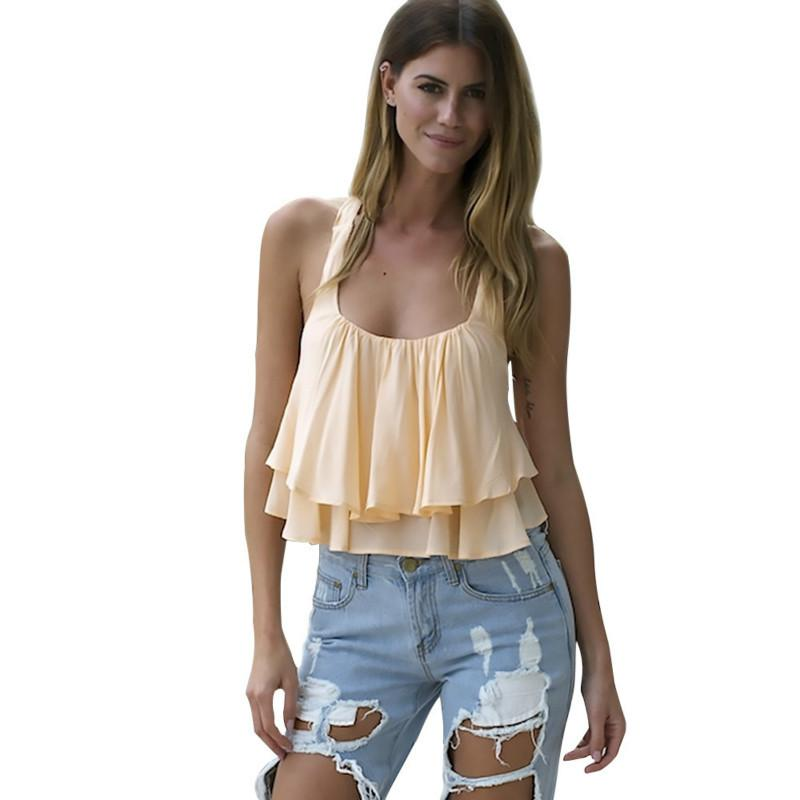 d61b62334f291 Fashion Summer Backless Layered Ruffle Blouse Women Sexy Off Shoulder Shirt  Top Ladies Sleeveless Blouses Online with  30.45 Piece on Modeng02 s Store  ...
