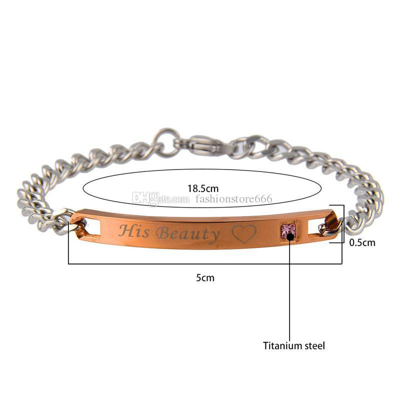 Titanium steel bracelets Her King His Queen Her Beast His Beauty Lettering Crown love couple Bangle For men&women s Fashion Jewelry