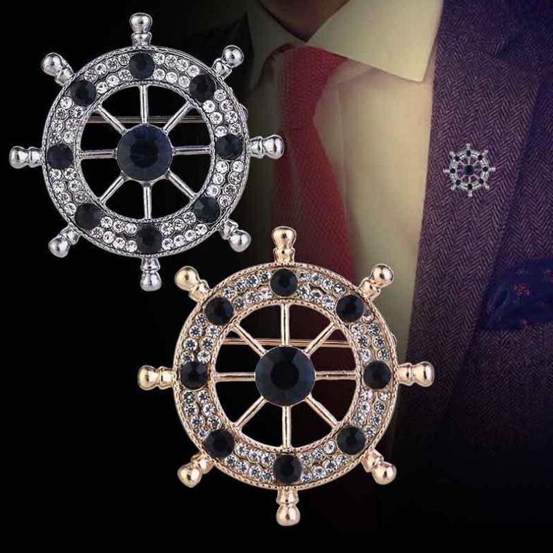 Moda 2 Renk Broşlar Iğneler Erkekler Için Çift Renk Rhinestone Dümen Broş Takım Elbise Bezler Dekorasyon Takı
