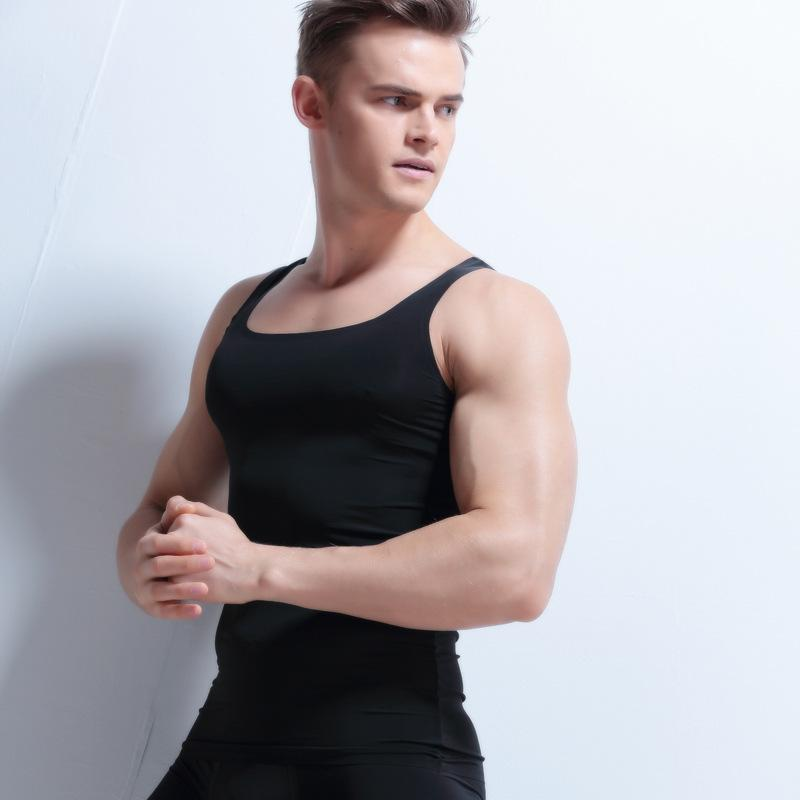 b394d01835aa94 2019 New Men S Seamless Vest Men S Sleeveless T Shirt Slim Shirt Wide  Shoulder Undershirt Men Singlet Mens Silk Undershirts Plus Size From  Blueberry15