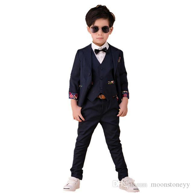 2018 Flower Boys Wedding Suit Brand England Style Gentle Boys Formal Anzug  Tuxedos Suit Kids Blazer+Pants+Vest Clothing Set Online with  45.72 Piece  on ... c078e1c38f73