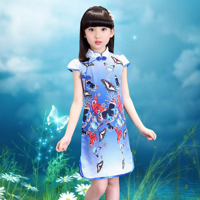 7b57a7bc199 Kids Dresses for Girls 2 3 4 5 6 7 8 9 10 11 12 Years Girls Blue Green  Flower Print China Style Dresses Girls Party Dress B291