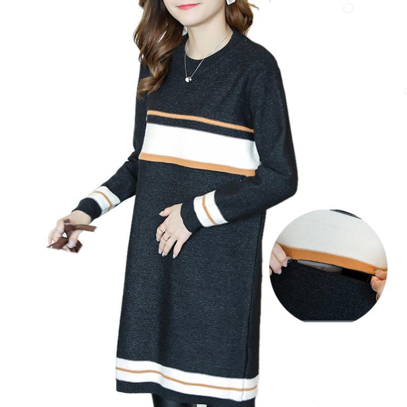 3ea7ca839 Compre Vestido De Suéter De Enfermería De Maternidad Más Rayas De Lactancia  De Tamaño Vestidos De Punto Para Mujeres Embarazadas Embarazo Ropa De Moda  De ...