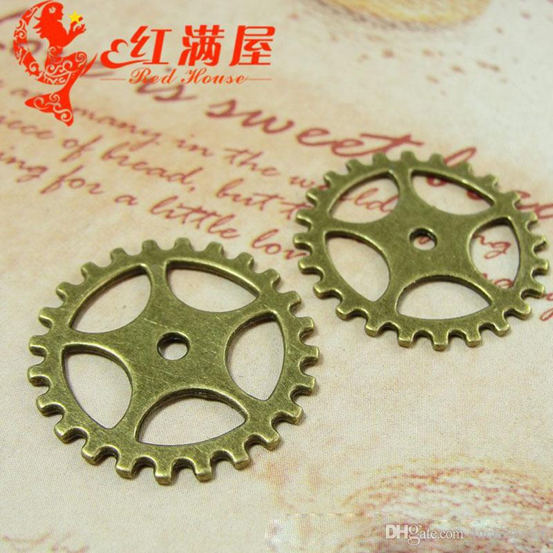 A4107 25MM Antique Bronze plated Zinc alloy movement gear charms metal accessories, vintage tibetan pendants wholesale manufacturers