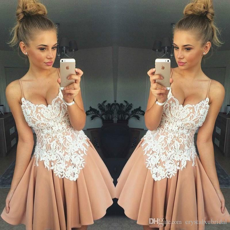 2018 Cheap Cocktail Party Dresses Blush Pink Nude Lace Graduation Dresses Short Mini Homecoming Dresses Spaghetti Straps Girls Prom Gowns