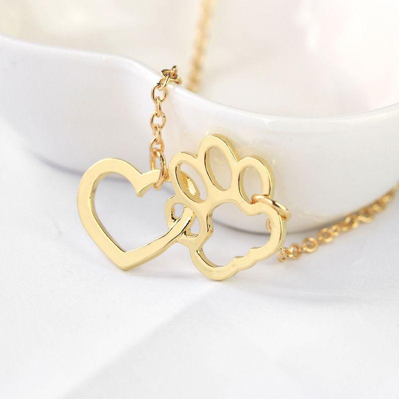 Mode Halskette Süße Hund Pfote Herz Anhänger Halsketten Silber Gold Legierung Kurze Halskette Für Frauen Geschenk