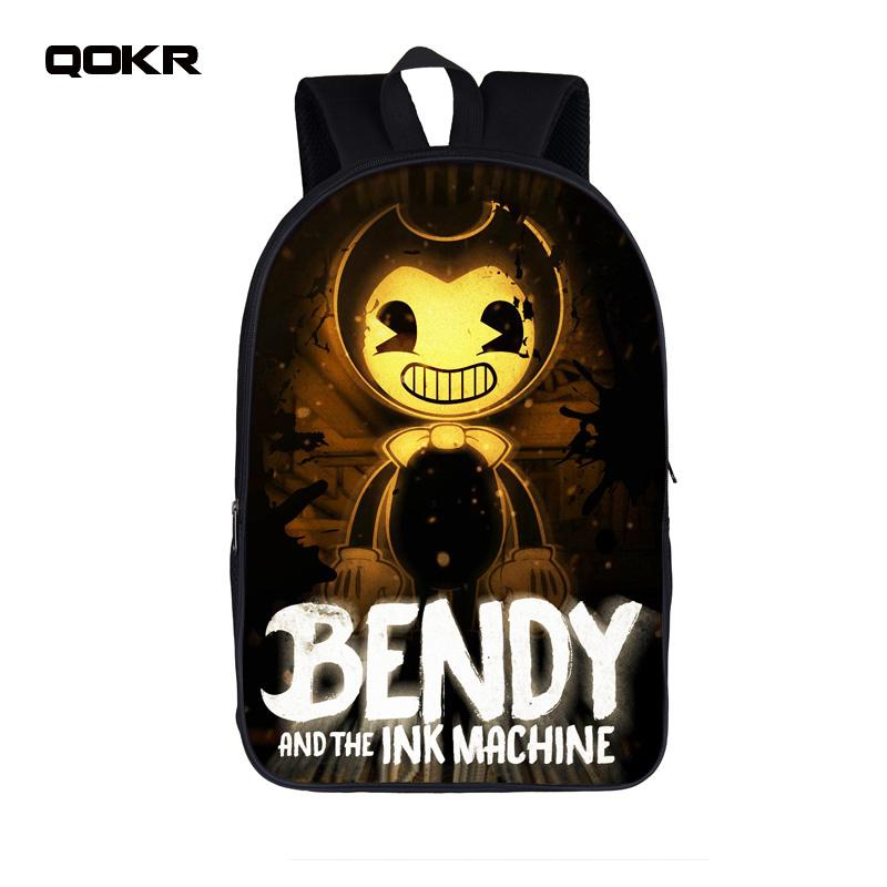 dc3c86bb5846 QOKR Cartoon Bendy And The Ink Machine Students Backpack For Teens Boys  Girls Children School Bags Bendy And Boris Kids Backpack Wheeled Backpacks  Leather ...
