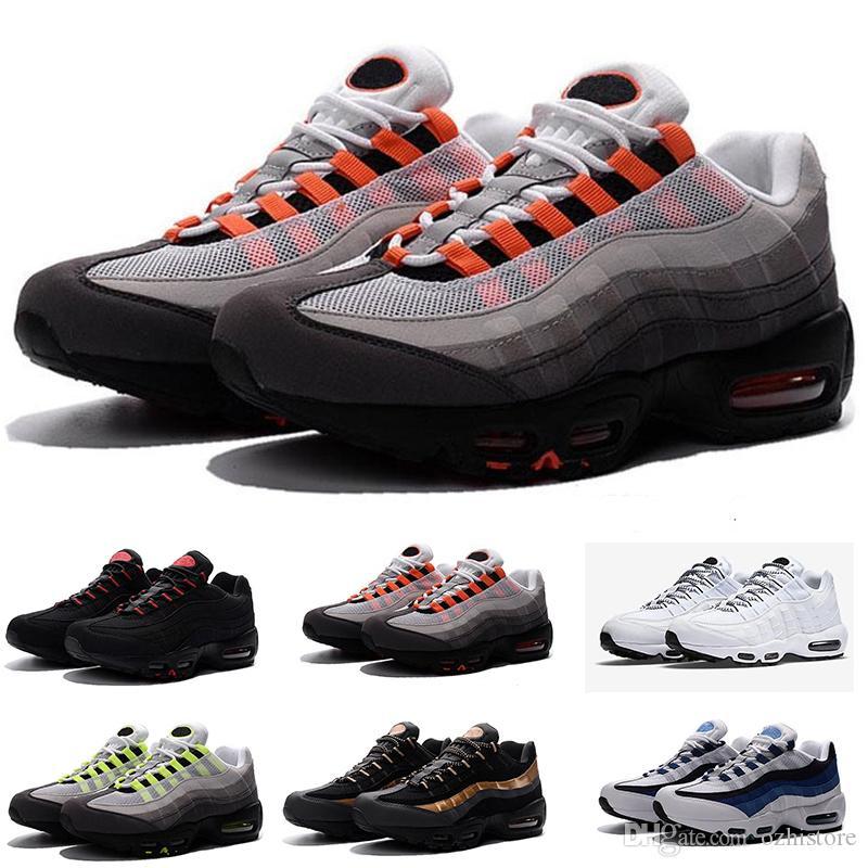 2018 descuento de alta calidad casual al aire libre para Nike Air Max 9 caminar zapatos nuevos 95 hombres negro blanco rojo para hombre transpirable