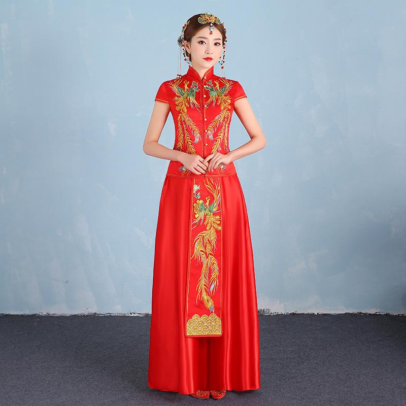 2019 New Red Bride Traditions Women Phoenix Embroidery Cheongsam
