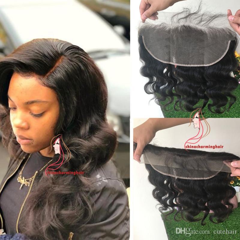 레이스 정면 폐쇄 브라질 바디 웨이브 인간의 머리 13x6 레이스 정면 무료 부 표백 된 매듭 레미 아기 머리