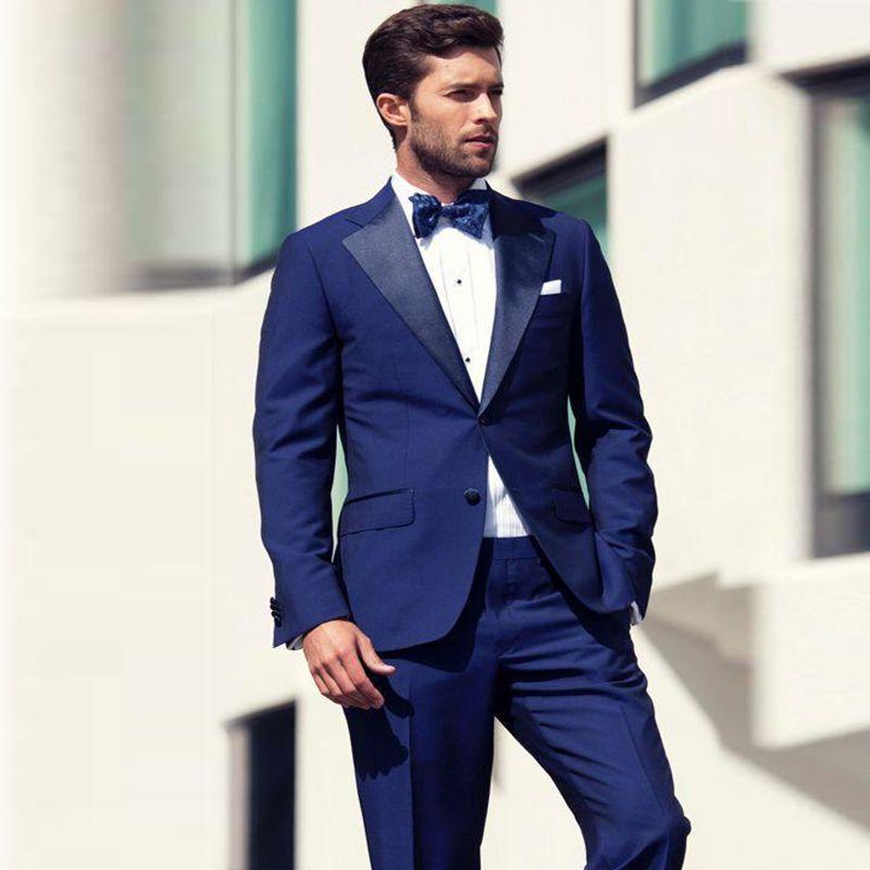 Custom Navy Blue Men Suits 2018 pour le mariage Slim Fit Tuxedos de marié Veste + Pantalon Meilleur Homme De Porter Des Vêtements