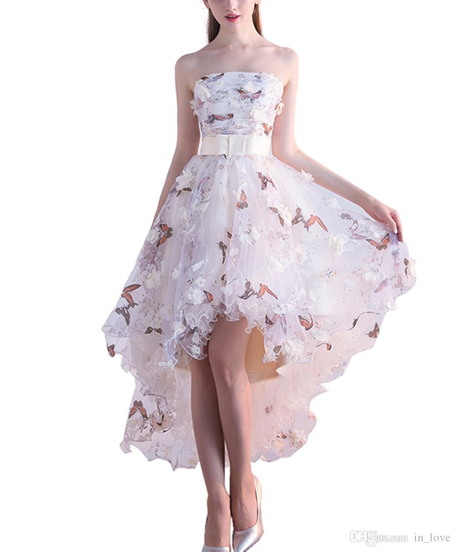 High Low Cream 3D Floral Butterfly Prom Dresses Strapless Bow Belt Short Front Long Back Girls Pageant Dress Party Gowns