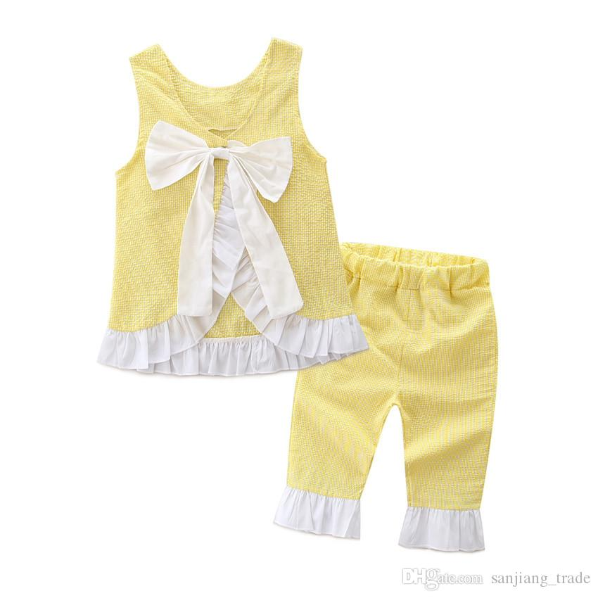 Fashion Europe Summer girls pure lace bowknot suit back down Two pieces suit Multi color Pure cotton good quality