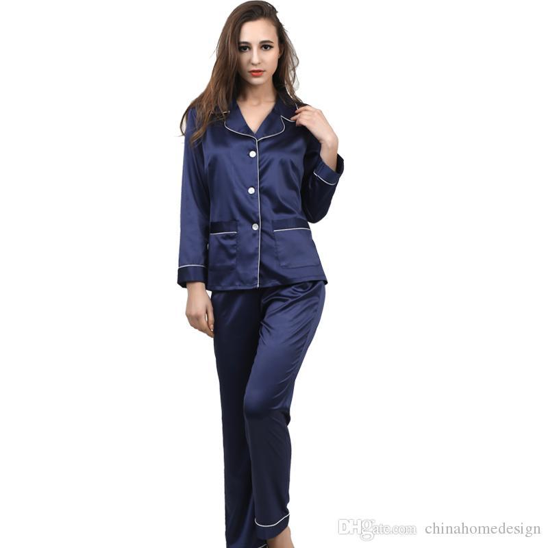 High Quality Smooth Ladies Pajamas Fashion Real Silk Pyjamas   Funny Woman  Pajamas OEM Service Cheap Customized Fashion Real Silk Pajamas UK 2019 From  ... 9f946fbce
