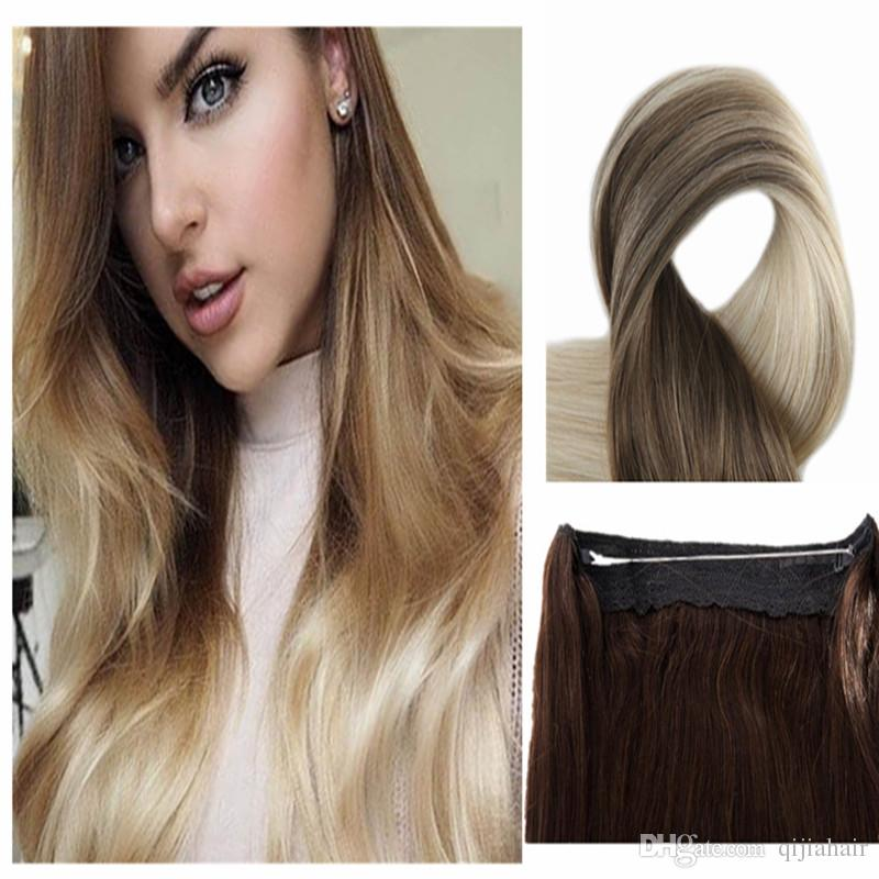 Ombre Color T860 Halo Flip In Hair Extensions 80g 120g 18inch