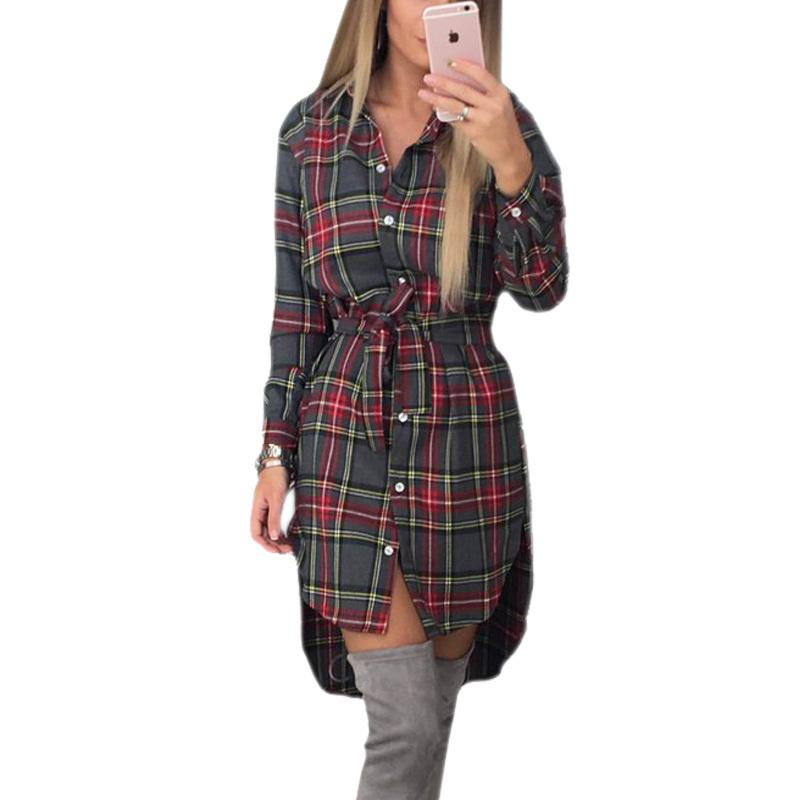 f492083c1d600 2019 Explosions Autumn Asymmetrical Vintage Dresses Long Sleeve Winter Women  Plaid Dress Casual Shirt Dress Mini Dress New GV426 Plus Size Party Dress  Buy ...