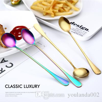 Stainless Steel Titanium Gold Ladle Coffee Iced Mixing Spoon Thickened Spoon Creative Tableware Ice Round Spoon