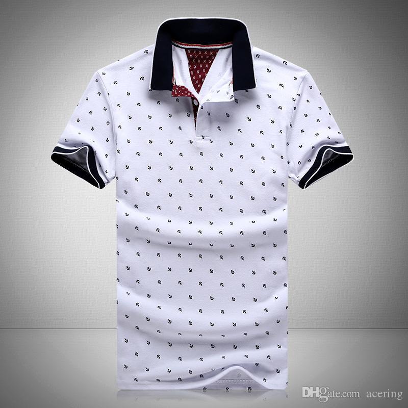 76fd67834 Compre 2016 Novas Marcas Dos Homens Impresso POLO Camisas Marcas 100%  Algodão De Manga Curta Camisas Polo Gola Masculina Camisa Polo M 3XL.