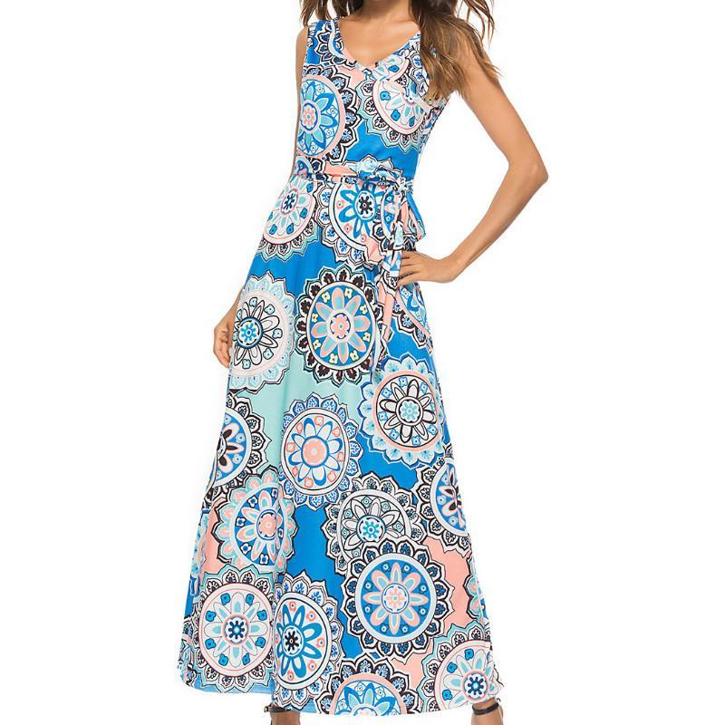 Femme Sashes Sleeveless V Neck Dresses Women Summer Floral Printed Boho Maxi  Long Dress 2018 Girl Beach Sundress Plus Size GV131 Evening Dresses For  Women ... d8982ea33