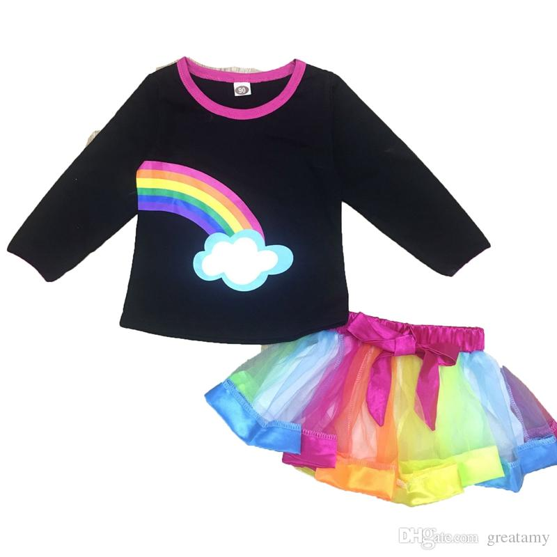 1b23674278d 2019 Christmas Rainbow Baby Girls Suit Kids Clothes Outfits Tops+Tutu Bow  Dress Elegant Fashion Children Clothes Suit From Greatamy