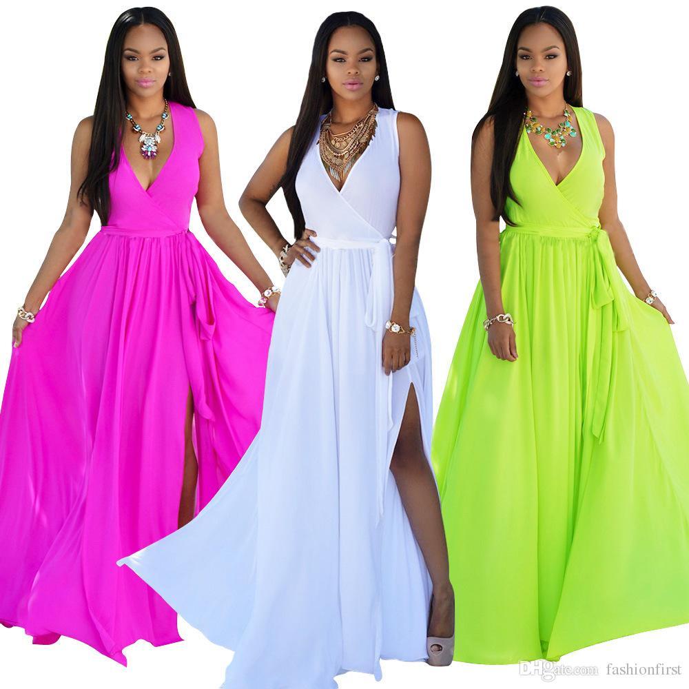 587362bd62e Asymmetric Slits Beach Dress Vacation Women Clothes Sexy Deep V Neck  Sleevess Chiffon Summer Dress Rose Red White Light Green Shift Dress Long  Sleeve ...