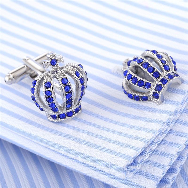 الرجال أزرار أكمام هدايا عيد الأب الكامل الراين التاج قميص الملك الملكة زفاف العريس سهرة مجوهرات الأزياء الكلاسيكية الفرنسية كريستال