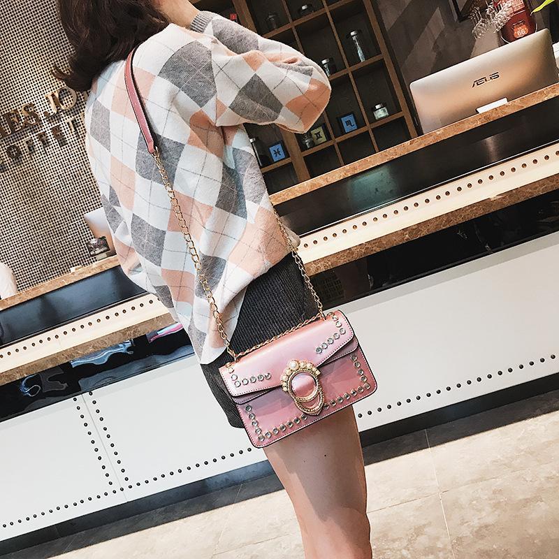 Moda Kadın PU Deri Çanta Zincir Omuz Çantası Kutusu Çanta Çanta Parti Çantası