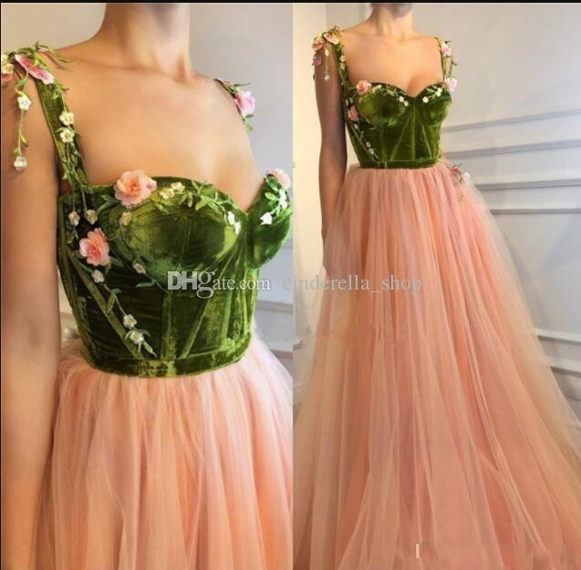 c3a6d096fcc New Fairy Prom Dresses With Colorful Flowers Spaghetti Backless Sweep Train Long  Formal Evening Party Gowns Homecoming Dresses Emerald Green Prom Dresses Uk  ...