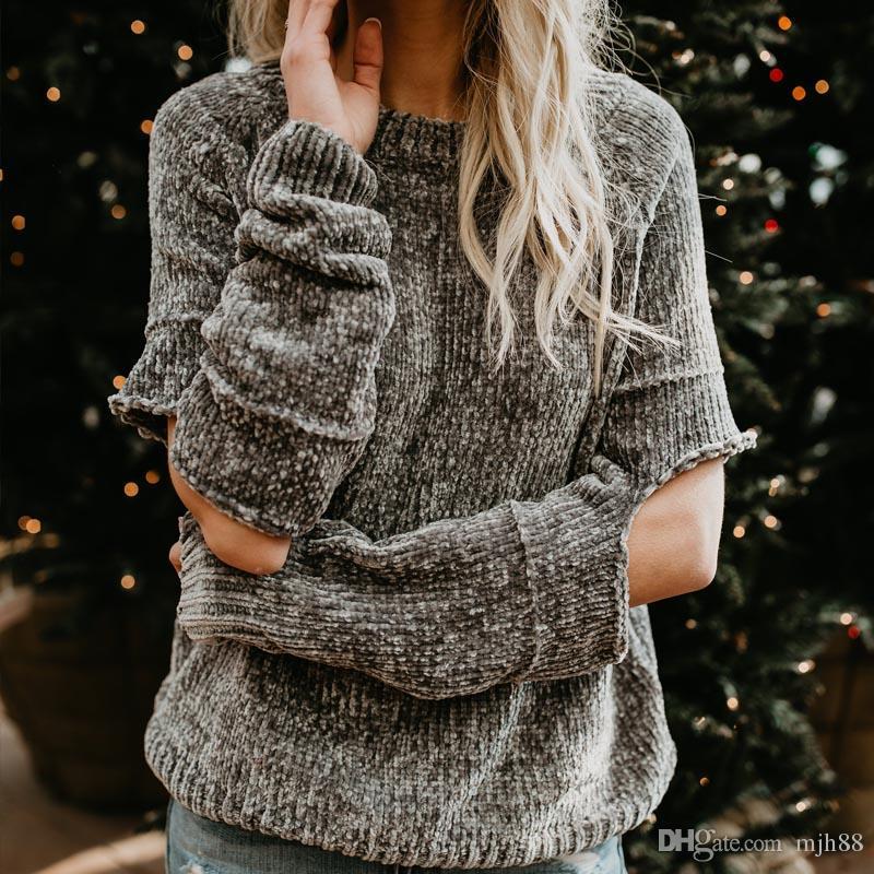 Donne casual maglione ciniglia donne maglione allentato buco a maglia pullover femminile grigio stile boyfriend signore maglieria tirare Femme